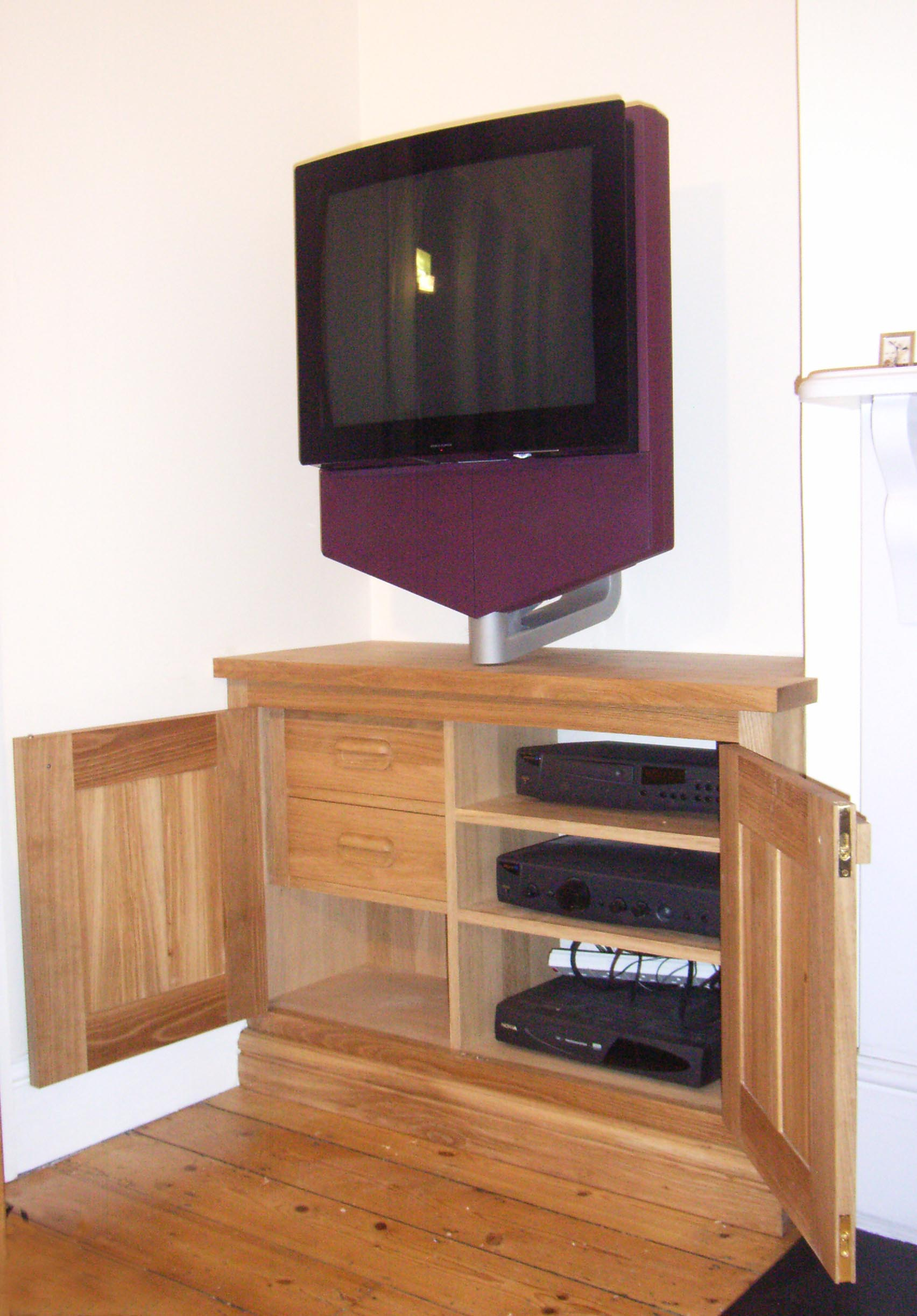 Bespoke Alcove Oak TV Cupboard