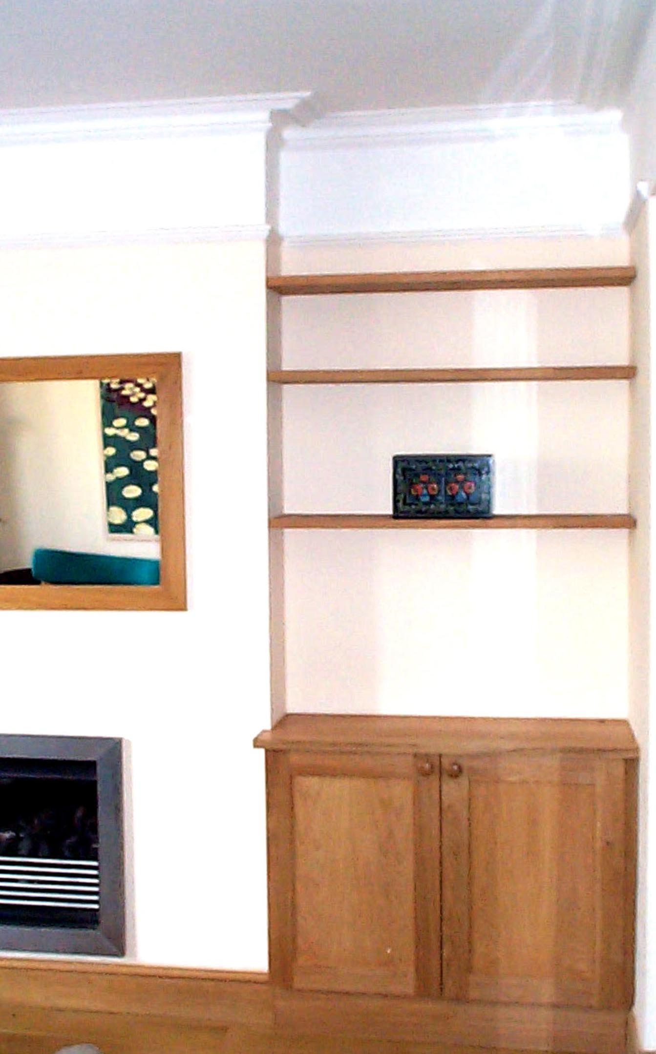 Solid Oak Shelves and Cupboards